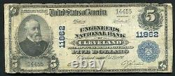 1902 $5 Engineers National Bank Of Cleveland, Oh National Currency Ch. #11862