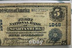 1902 $5 First National Bank Of Spartanburg, Sc National Currency #1848 Pmg Vg8
