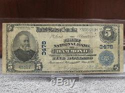 1902 $5 NATIONAL CURRENCY-RARE FIRST NATIONAL BANK-HAMMOND #3478 WithFREE SHIP