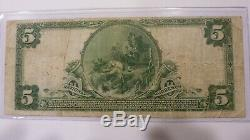 1902 $5 National Currency Columbus Ohio Huntington National Bank Large Us Note