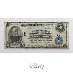 1902 $5 National Currency Fifth-Third National Bank of Cincinnati, OH Large Size