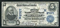1902 $5 The First National Bank Of Detroit, MI National Currency Ch. #2707 Vf+