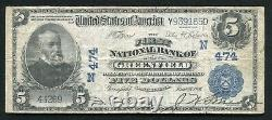 1902 $5 The First National Bank Of Greenfield, Ma National Currency Ch. #474