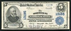 1902 $5 The Mobile National Bank Alabama National Currency Ch #13195 About Unc