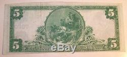 1902 Large Size Frackville PA $5.00 #7860 National Bank Note Currency