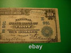 1902 National Currency State Bank of Troy NY -Ten Dollars Note Circulated