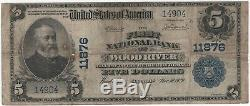 1902 PB $5 First National Bank Note Currency Wood River Illinois Circulated Fine