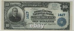 1902 Pb $10 Otoe National Bank Nebraska City Banknote Currency Pcgs C Cu 64