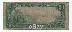 1902 Pb $20 Cedar Rapids Iowa National Bank Note Currency Circ Fine (577)