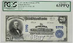 1902 Pb $20 O'neill National Bank Nebraska Banknote Currency Pcgs-c Ch63 Ppq