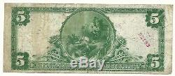 1902 US $5 National Currency Large Size Note Rare Bank of Italy California