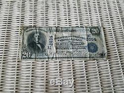 1902 US National Blue Seal Large $20 Currency Note! Bank Charter M2894