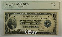 1918 $1 One Dollar Chicago Federal Reserve Bank National Currency Legacy VF-25