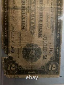 1918 $2 National Currency Kansas City Battleship U. S. Federal Reserve Bank Note