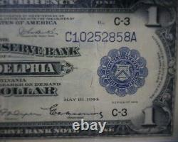 1918 One Dollar $1 National Currency FEDERAL RESERVE Bank Note Philadelphia, PA