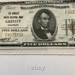 1924 Colorado $5 National Currency The Greeley Union National Bank PMG