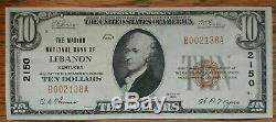 1929 $10 National Currency, Lebanon KY Ch# 2150 Kentucky Bank Note Marion County