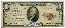 1929 $10 National Currency Note Ch 8590 Bank of Aliquippa Pennsylvania AJ455