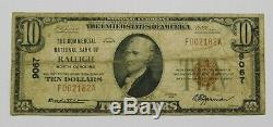 1929 $10 National Currency, Raleigh, NC Ch# 9067 Scarce North Carolina Bank Note
