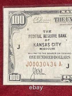 1929 $100 BILL NATIONAL CURRENCY FEDERAL RESERVE BANK OF Kansas City. Missouri J