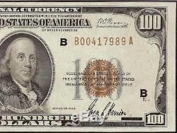 1929 $100 Dollar Frbn Bank Note Brown Seal Paper Money National Currency Pmg 55