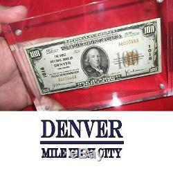 1929 $100 First National Bank Of Denver, Co National Currency Ch. #1016