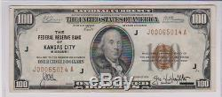 1929$100 National Currencyfederal Reserve Bank Of Kansas City, Mo. Xf-au