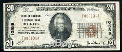 1929 $20 Beckley Nat. Exch. Bank Beckley, Wv National Currency Ch. #10589