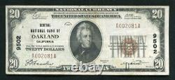 1929 $20 Central National Bank Of Oakland, Ca National Currency Ch. #9502