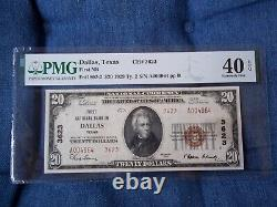 1929 $20 Dallas Texas TX National Currency T2 # 3623 1st National Bank Dallas #