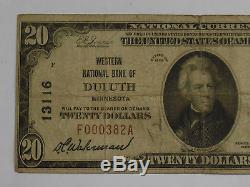 1929 $20 National Bank Currency Note, Type 1, Fine, Duluth, Minn, LOW Serial
