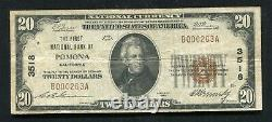 1929 $20 The First National Bank Of Pomona, Ca National Currency Ch. #3518