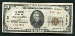 1929 $20 The Texarkana National Bank Texarkana, Tx National Currency Ch #3785