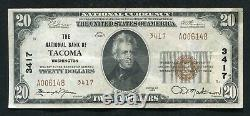 1929 $20 Tyii The National Bank Of Tacoma, Wa National Currency Ch. #3417