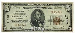 1929 $5 Columbia National Bank Kansas City Missouri National Currency XF #