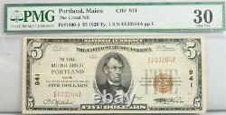 1929 $5 Dollar Maine National Bank Note FR 1800-1 PMG Certified 30 VF Currency