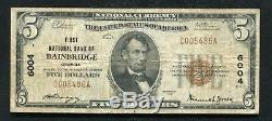 1929 $5 First National Bank Of Bainbridge, Ga National Currency Ch. #6004