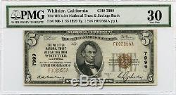 1929 $5 National Currency Whittier National Trust & Savings Bank CA PMG VF 30