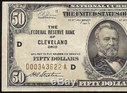 1929 $50 DOLLAR BILL FR BANK NOTE NATIONAL CURRENCY OLD PAPER MONEY Fr 1880-D VF