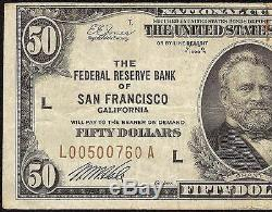 1929 $50 DOLLAR SAN FRANCISCO FRBN BANK NOTE NATIONAL CURRENCY MONEY Fr 1880-L