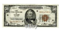 1929 $50 Fifty Dollars National Currency Federal Reserve Bank Chicago Illinois