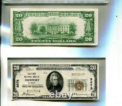 1929 Freeport Illinois $20 First National Bank Currency Note Cu 4721p