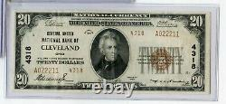 1929 National Currency Bank Of Cleveland Ohio 4318 $20 Currency Note RX926