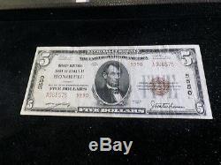 1929 National Currency Honolulu Hawaii Bishop National Bank $5 Note Fine+