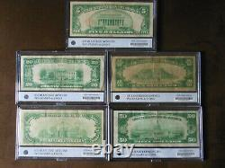 1929 Set National Currency Bank Notes $5, $10, $20, $50, $100 (set of 5 notes)