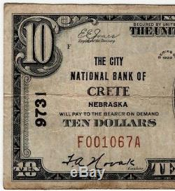 1929 T1$10 City National Bank of Crete Nebraska National Banknote Currency F/VF