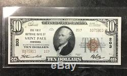 1929 Ten Dollar $10 Bill National Currency First National Bank Of St. Paul