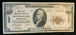 1929 The First National Bank Of Montoursville Pa $10 National Currency