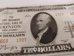 1929 Trenton New Jersey NJ 10$ National Currency Bank Note Bill #1327