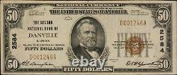 1929 Ty 1 $50 National Currency 2nd National Bank of Danville, Ill. F- 1803